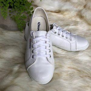 Superga white vegan leather size 7